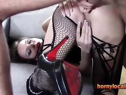 MILF in Lingerie Roughly Fucked in Her Ass