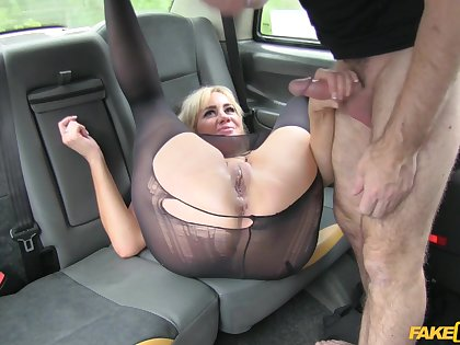 Busty blonde passenger gets her pussy pluged deep by taxi drivers dick