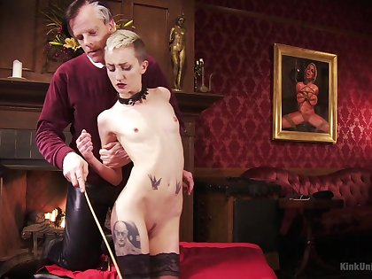 Short haired blonde slut Cadence Cross loves to be spanked rough
