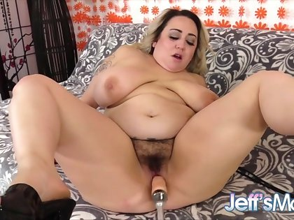 Lustful plumper enjoy fucking machines in their plump pussies