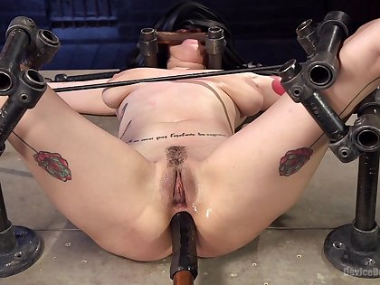 Tight babe endures rough anal stimulation in her first BDSM