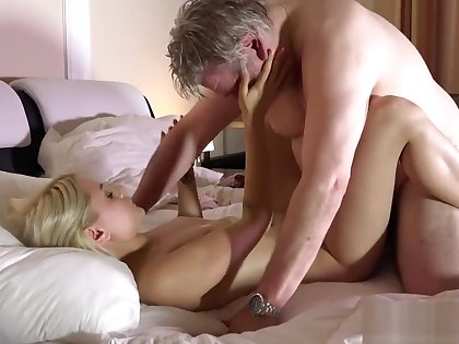 Old beggar has wonderful sex with his younger girlfriend in the morning
