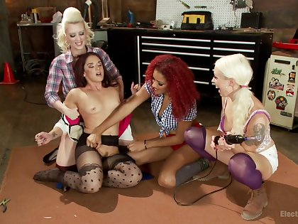 Sheena Ryder and Reddish Ravelled playing on touching their skirt friends