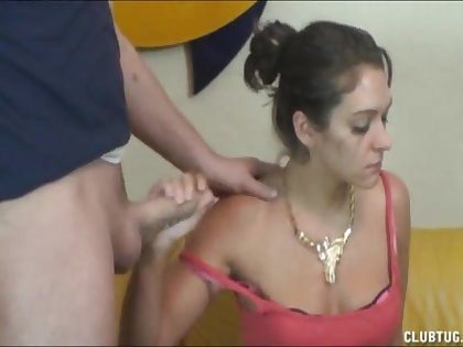 Slutty wife pleasures her lovers cock while crying the total time