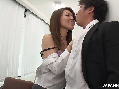 Bossy bitch Mao Saitou bangs new employee right in the office