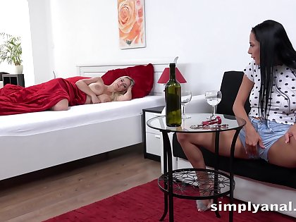 Sexy raven haired pet masturbating alongside her sleeping friend