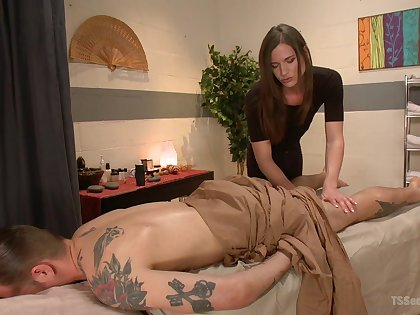 Erotic massage leads guy to try shemale sex